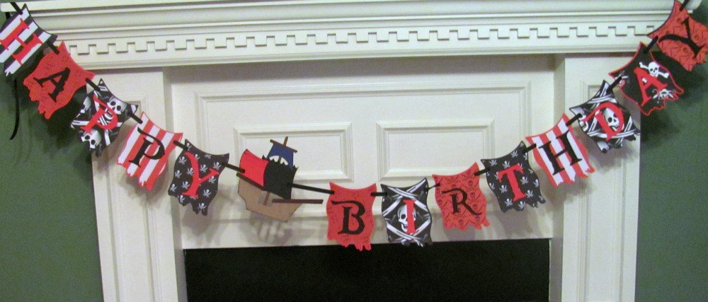 Pirate Birthday Banner with Personalized Name Banner featuring a Pirate & his Parrot