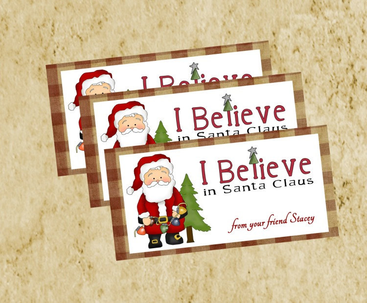 Christmas Treat Bag Topper Diy Printable Primitive Homespun Red Checked Santa Tag