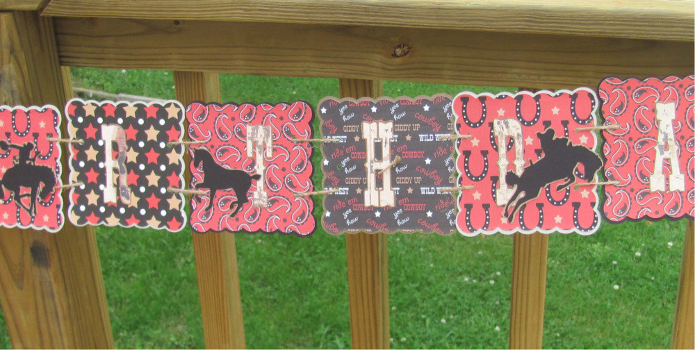 Western Themed Cowboy Birthday Banner