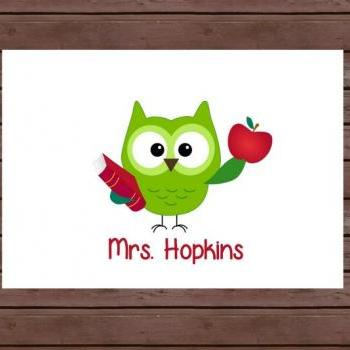 Owl Note Cards/Personalized Stationary for Teacher/ Set of 8