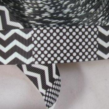 Black and White Chevron & Dots Grosgrain Ribbon 7/8